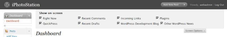 WordPress 2.7 Beta 1 Dashboard Screen Options